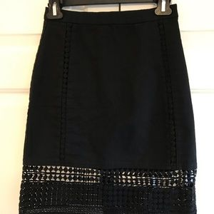 J.Crew Lace Detail Black Skirt